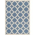 Safavieh Indoor/ Outdoor Courtyard Geometric-pattern Blue/ Beige Rug (4' x 5'7'')