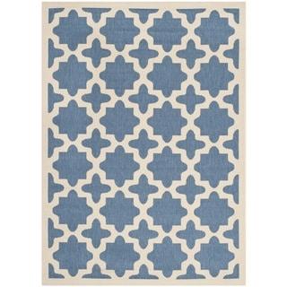 Safavieh Indoor/ Outdoor Courtyard Contemporary Blue/ Beige Rug (5'3'' x 7'7'')
