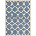 Safavieh Indoor/ Outdoor Courtyard Blue/ Beige Polypropylene Rug (6'7 x 9'6)