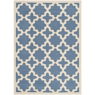 Safavieh Indoor/ Outdoor Courtyard Blue/ Beige Area Rug (9' x 12')