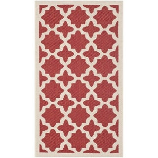 Safavieh Indoor/ Outdoor Courtyard Red/ Bone Polypropylene Rug (2' x 3'7)