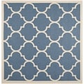 Safavieh Indoor/ Outdoor Courtyard Blue/ Beige Area Rug (5'3 Square)