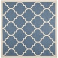 Safavieh Indoor/ Outdoor Courtyard Blue/ Beige Rug (7'10 Square)