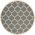 Safavieh Indoor/ Outdoor Courtyard Anthracite/ Beige Geometric Rug (6'7 Round)