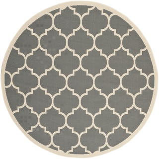 Safavieh Indoor/ Outdoor Courtyard Anthracite/ Beige Polyproplene Rug (7'10 Round)