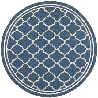 Safavieh Indoor/ Outdoor Courtyard Latex-Free Navy/ Beige Rug (6'7 Round)