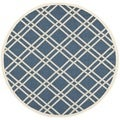 Safavieh Indoor/ Outdoor Courtyard Navy/ Beige Area Rug (5'3 Round)