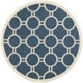 Safavieh Power-loomed Indoor/ Outdoor Courtyard Navy/ Beige Rug (5'3 Round)