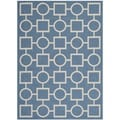 Safavieh Indoor/ Outdoor Courtyard Squares-and-circles Blue/ Beige Rug (5'3'' x 7'7'')