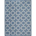 Safavieh Indoor/ Outdoor Courtyard Squares-and-circles Blue/ Beige Rug (8' x 11')