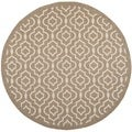 Safavieh Indoor/ Outdoor Courtyard Contemporary Brown/ Bone Rug (7'10'' Round)