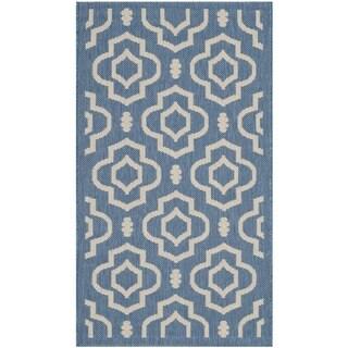 Safavieh Indoor/ Outdoor Courtyard Blue/ Beige Area Rug (2'7 x 5')