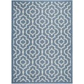 Safavieh Indoor/ Outdoor Courtyard Contemporary Blue/ Beige Rug (4' x 5'7'')