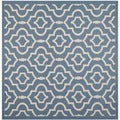 Safavieh Indoor/Outdoor Courtyard Blue/Beige Latex-free Rug (7'10 Square)