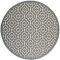 Contemporary Safavieh Indoor/ Outdoor Courtyard Anthracite/ Beige Rug (7'10 Round)