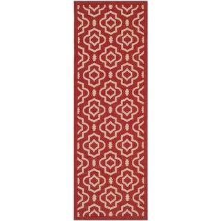 Safavieh Indoor/ Outdoor Courtyard Collection Red/ Bone Rug (2'3 x 6'7)