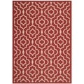 Safavieh Indoor/ Outdoor Courtyard Red/ Bone Area Rug (4' x 5'7)