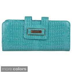 Kenneth Cole Reaction Croc-embossed Patent Tab Clutch
