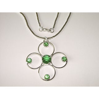 Green Crystal Clover Fashion Necklace