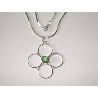 Green Crystal Hoop Cross Necklace