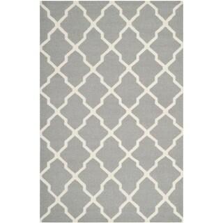 Safavieh Handwoven Moroccan Reversible Dhurrie Geometric Grey Wool Rug (8' x 10')