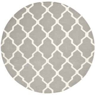 Safavieh Hand-woven Moroccan Reversible Dhurrie Grey Wool Rug (6' Round)