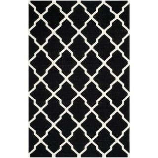 Safavieh Hand-woven Moroccan Dhurrie Black Wool Rug (9' x 12')