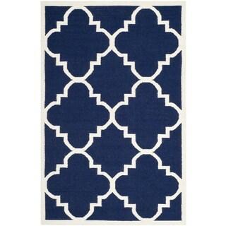 Safavieh Handwoven Moroccan Reversible Dhurrie Navy Wool Area Rug (9' x 12')