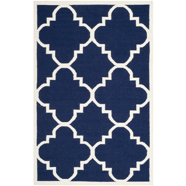 Safavieh Handwoven Moroccan Reversible Dhurrie Geometric-pattern Navy Wool Rug (6' x 9')