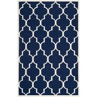 Safavieh Handwoven Moroccan Dhurrie Geometric Navy Wool Rug (8' x 10')