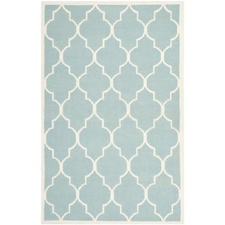 Safavieh Handwoven Moroccan Dhurrie Light Blue Geometric Wool Rug (6' x 9')