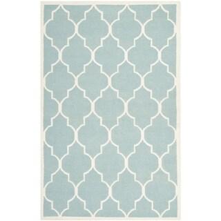 Safavieh Handwoven Moroccan Reversible Dhurrie Light Blue Wool Area Rug (5' x 8')