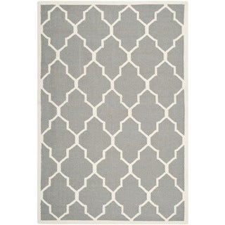 Safavieh Handwoven Moroccan Dhurrie Transitional Gray Wool Rug (9' x 12')