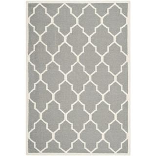 Hand Made Geometric Pattern Ivory Gray Wool Rug 8x10