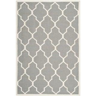 Safavieh Hand-woven Moroccan Dhurrie Grey Wool Rug (5' x 8')