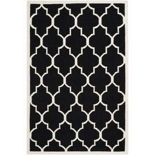 Safavieh Handwoven Moroccan Reversible Dhurrie Black Wool Area Rug (9' x 12')