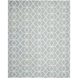 Safavieh Hand-woven Geometric Moroccan Reversible Dhurrie Blue Wool Rug (8' x 10')