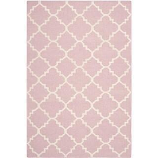 Safavieh Handwoven Moroccan Reversible Dhurrie Pink/ Ivory Wool Area Rug (6' x 9')