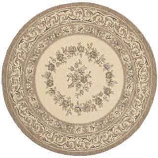 Safavieh Indoor/ Outdoor Courtyard Cream/ Brown Rug (5'3 Round)