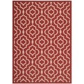 Safavieh Indoor/ Outdoor Courtyard Contemporary Red/ Bone Rug (5'3'' x 7'7'')