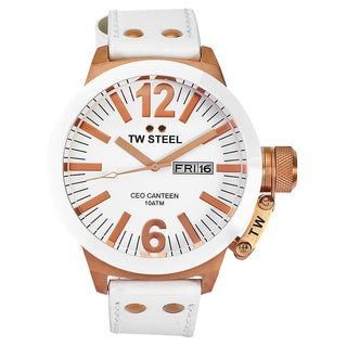 TW Steel Men's 'CEO Canteen' White/ Rose Goldtone Watch