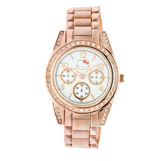 Hello Kitty by Simmons Jewelry Co. Women's 'H3WL1034ROSE Brushed Round Rose-gold Alloy Case and Bracelet Watch