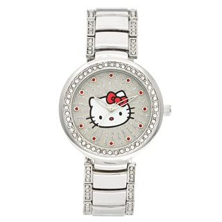 Hello Kitty Women's 'H3WL1046SV' Silvertone Case and Bracelet Accent Ribbed Ray Watch