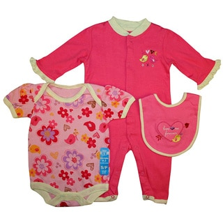 Bon Bebe Baby Girl's Pink Love Me 3-piece Bib Set