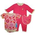 Bon Bebe Baby Girl's Pink Love Me 3-piece Bib Set