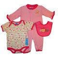 Bon Bebe Baby Girl's Pink Purrfect 3-piece Bib Set