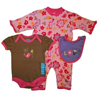 Bon Bebe Baby Girl's Purple Love 3-piece Bib Set