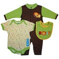 Bon Bebe Baby Boy's Green Oh Boy 3-piece Bib Set