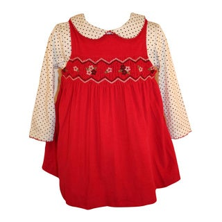 B T Kids Girls 2-piece Red Corduroy Smocked Dress