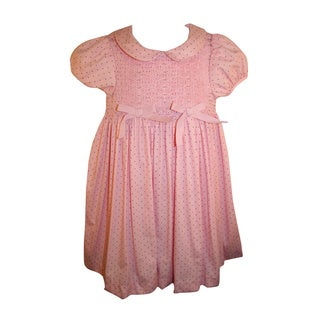 Rare Editions Girl's Pink Polka Dot Smocked Dress